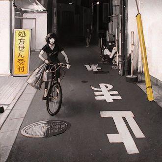 Фото Девушка на велосипеде едет по дороге, by Kuvshinov Ilya