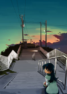 Фото Девочка сидит на лестнице на фоне вечернего неба