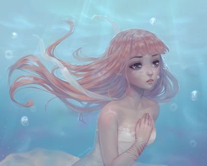 Фото Девушка с длинными волосами под водой держит руку на груди, by Yulia iyunia