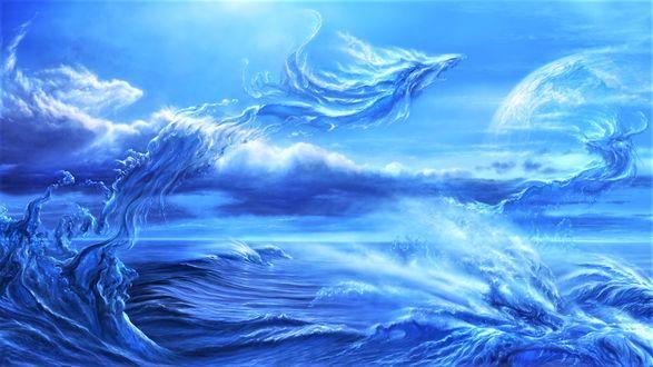 Фото Водные драконы вылетают из морских волн в ясное небо