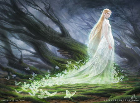 Фото Девушка-эльфийка в платье, подол которого усыпан бабочками, by depingo