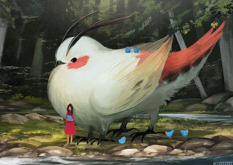 Фото Девушка стоит с курочкой в руках рядом с огромной птицей, by arizuka