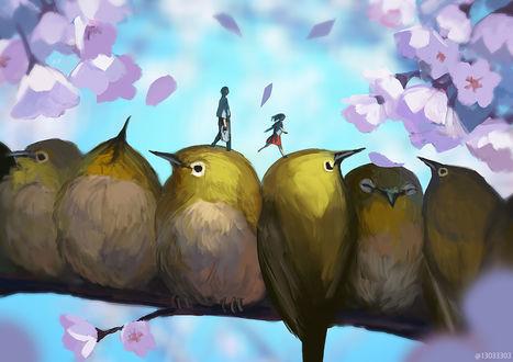 Фото Мальчик и девочка шагают по головам птиц, by arizuka