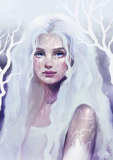 Фото Голубоглазая девушка с белыми, длинными волосами, by Sandramalie