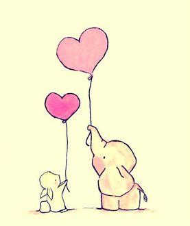 Фото Слоненок и зайчонок стоят и держат воздушные шарики