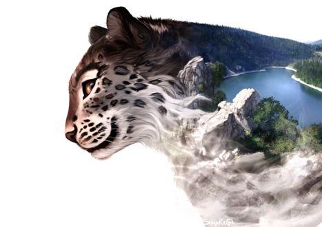 Фото Оригинальное изображение леопарда с изображением на нем природы, by Shalinka