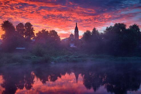 Фото Церковь Вознесения Господня на закате, Павлово-Посадские зори. Фотограф Нeger