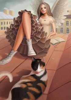 Фото Мечтающая девочка-ангел на крыше дома и рядом с ней кошка. Иллюстратор Варя Колесникова