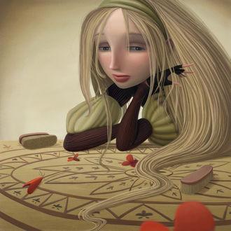 Фото Грустная девочка руками придерживает голову. Иллюстратор Варя Колесникова