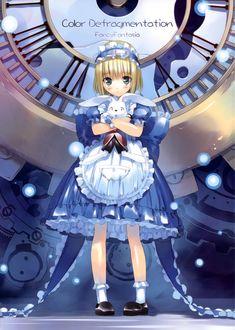 Фото Alice / Алиса персонаж сказки Alices Adventures in Wonderland / Алиса в Стране Чудес стоит с белым кроликом на фоне большого циферблата, by Ryo Ueda
