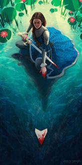 Фото Героиня романа «Сабриэль», Гарта Никса с мечом в воде, by Ashley Hankins