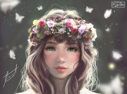Фото Зеленоглазая девушка в веночке, в окружении белых бабочек, by Fizzypopcake