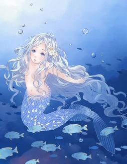 Фото Беловолосая русалка под водой, by pood1e