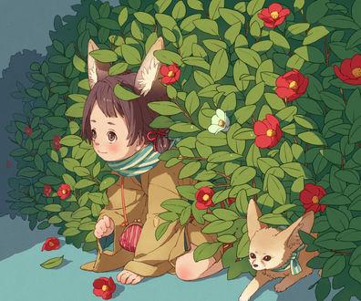 Фото Девочка с лисьими ушками и маленький фенек среди листьев азалии, by pood1e