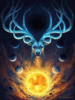 Фото Олень с ветвистыми рогами в окружении планет, by JoJoesArt