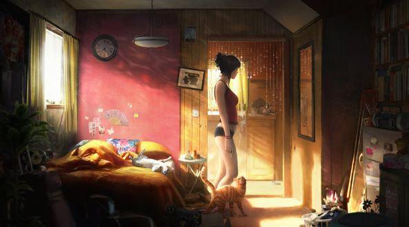 Фото Девушка стоит в комнате у кровати, где лежит кошка и на полу у ее ног тоже кошка