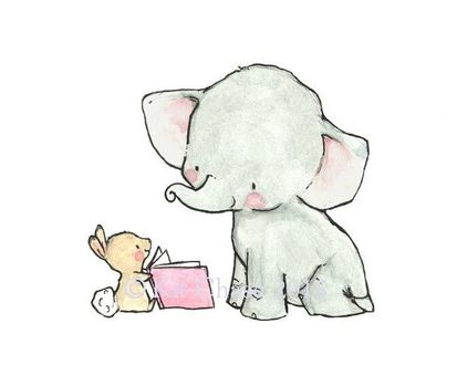 Фото Зайчишка читает со слоненком книжку