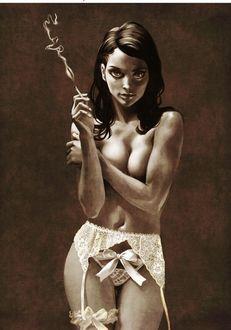Фото Девушка в нижнем белье с сигаретой в руке