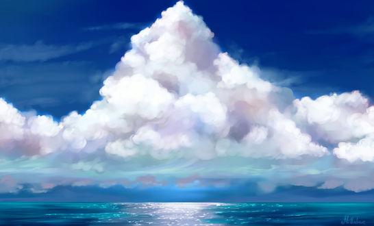 Фото Огромное белое облако над голубой водой, by Mellodee