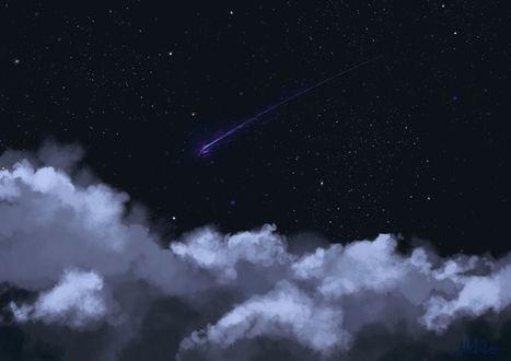Фото Облака на ночном небе с падающей звездой, by Mellodee