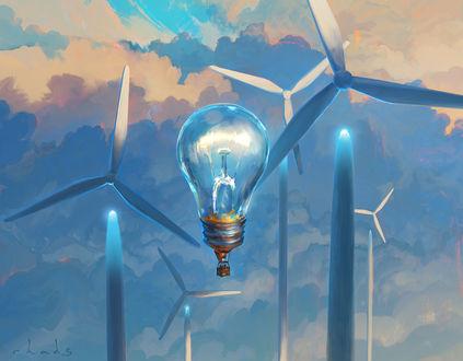 Фото Лампочка-воздушный шар парит в небе среди гигантских ветряков, by RHADS