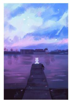 Фото Белый крольчонок сидит на мостках, by ieafy