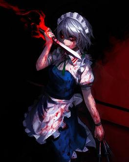 Фото Безумная Сакуя Изаеи / Sakuya Izayoi с ножами перепачканная кровью из серии игр и аниме Тохо / Touhou Project / Проект Восток, by Spark621