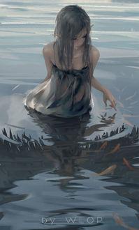 Фото Девушка-эльфийка стоит в воде, by wlop