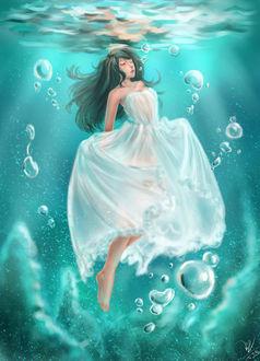 Фото Девушка в белом платье под водой, by emia1905