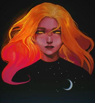 Фото Девушка с рыжими волосами и золотыми глазами, на кофте которой ночное небо, by Kiyoshuki