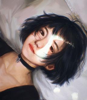 Фото Темноволосая девушка с кровью на лице, by Kiyoshuki