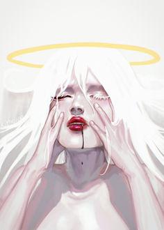 Фото У девушки с нимбом по лицу течет кровь, by Kiyoshuki