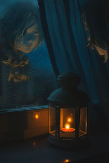 Фото Девушка смотрит на свое отражение на мокром стекле, by Kiyoshuki