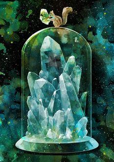 Фото Белочка с кусочком метеорита в лапах сидит на стеклянном куполе, под которым ледяные кристаллы, by nomiya38