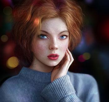 Фото Рыжая девушка с веснушками держит руку у лица, by Noveland Sayson