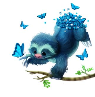 Фото Голубой чудик-ленивец с бабочками