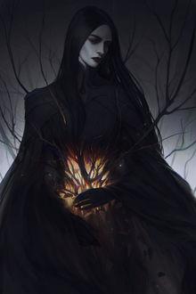 Фото Девушка в черном со светящимися ветками дерева, by exellero