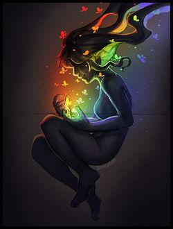 Фото Девушка со светящимися бабочками, by mcptato