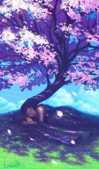 Фото Девушка лежит на земле и волосы ее плавно переходят в цветущее весеннее дерево, by Linum7