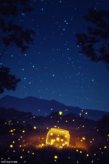 Фото Стеклянная банка со светлячками, by liwei191