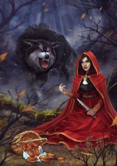Фото Красная шапочка с ножом в руке и злобный волк, by VeraVoyna