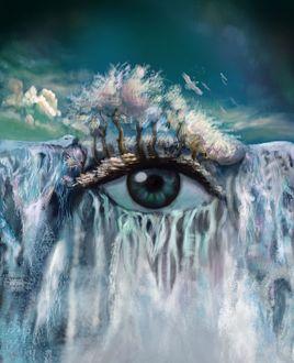 Фото Фантастический голубой глаз с изображением природы