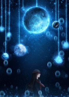 Фото Девушка в школьной форме стоит на фоне ночного неба и планет, привязанных нитями, by CZY