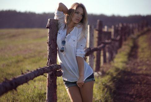 Фото Девушка Анастасия в шортах и белой рубашке стоит у деревянной ограды, фотограф Anton Komar