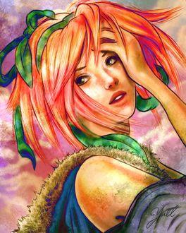 Фото Девушка поправляет взлохмаченные волосы, by Yoell