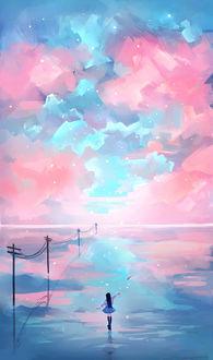 Фото Девушка запускает бумажный самолетик, стоя на поверхности воды, на фоне неба голубых и розовых тонов, by O-CH