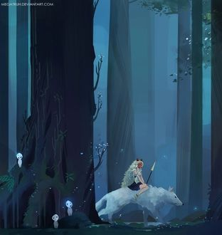 Фото San / Сан и Moro / Моро из аниме Принцесса Мононокэ / Mononoke Hime, by megatruh