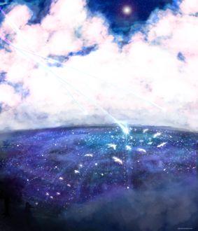 Фото Девушка сидит на холме, откуда открывается вид на ночной город, в небе три падающих звезды, by Piiy