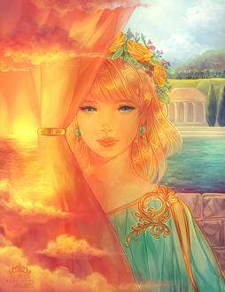 Фото Красивая девушка стоит за занавеской на которой изображены облака, море и солнце, by Kuroszi