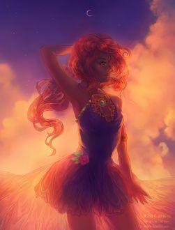 Фото Рыжеволосая эльфийка в платье с длинным шлейфом стоит на фоне ночного, облачного неба, by Kuroszi